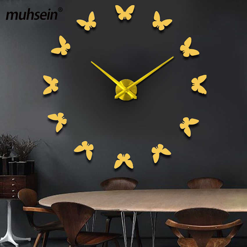 muhsein New Wall Stickers Home Decor Poster Diy Europe Acrylic Large 3d Sticker Still Life Wall Clock Horse Butterfly FREE SHIP