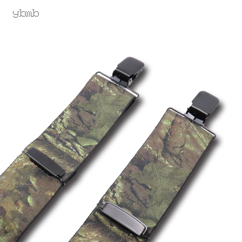 Image 4 - YBMB Fashion Shirt Suspenders Camouflage Print Elastic Tactical Belt X Shape 4 Gun Black Clips on  Bretelles  military 50mmwidth-in Men's Suspenders from Apparel Accessories