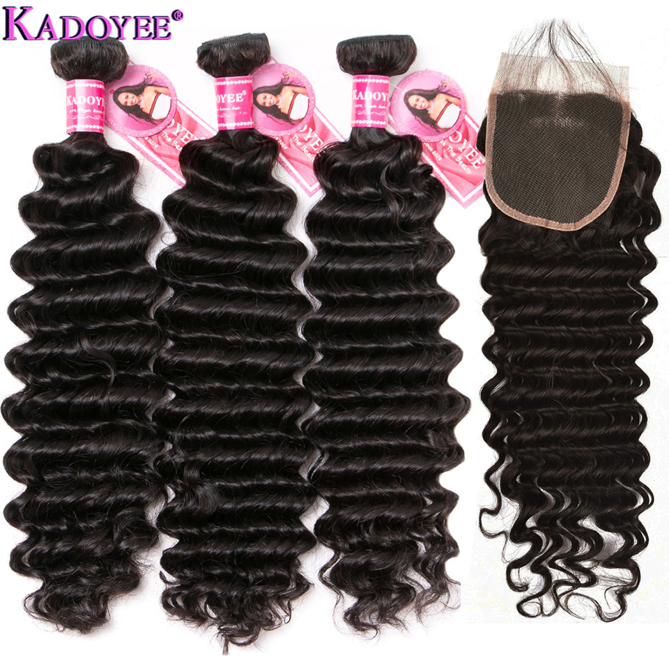 KADOYEE Hair Deep Wave Hair Weave 3 1 Bundles with Closure Human Hair Bundles with Closure