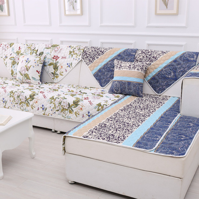Two Sides Printed Floral Quilted Fabric Cover Sofa Polyester
