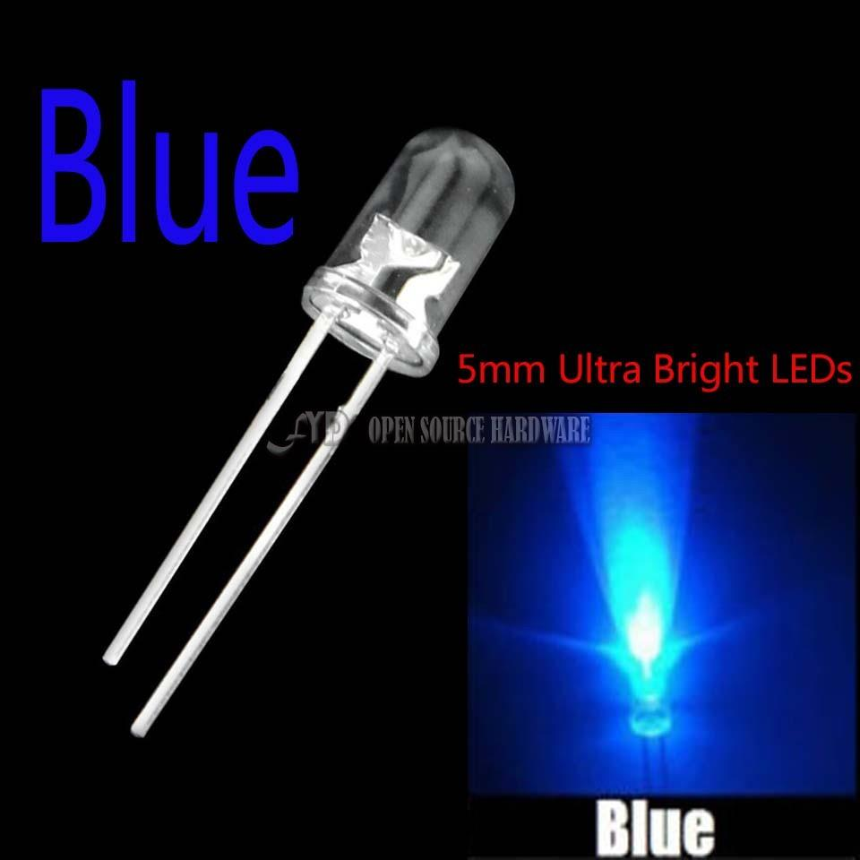 5 Colors x100pcs =500pcs New 5mm Round Super Bright Red//Green//Blue//Yellow//White Water Clear LED Light Diode kit