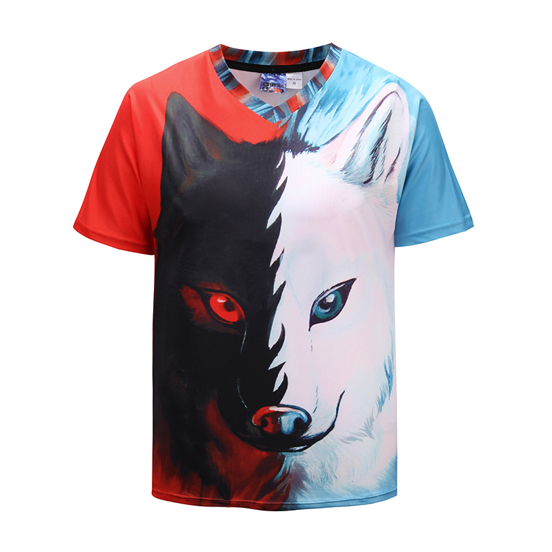 New Fashion V Neck Short sleeved T shirt Cool Half White ...