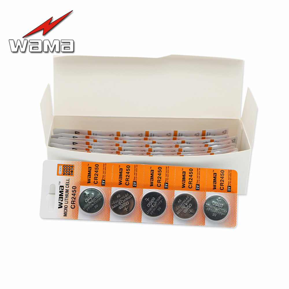 50x Wama CR2450 3V Button Cell Coin <font><b>Batteries</b></font> DL2450 <font><b>CR2450N</b></font> ECR2450 BR2450-1W KCR2450 Alkaline Lithium Cells Watch <font><b>Battery</b></font> image