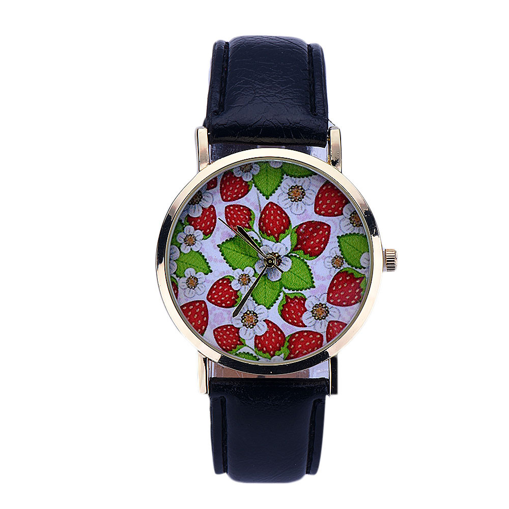 Women Strawberry Pattern Leather Black Quartz Wrist Watch women watches Bayan Kol Saati zegarki damskie orologio donna Clock N50