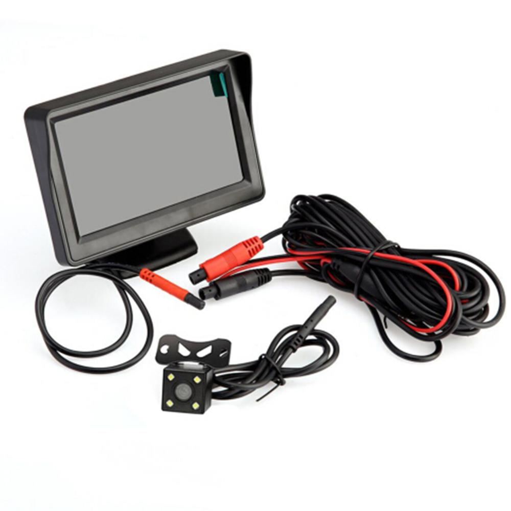 4 3inch LED Display Car Rear View Camera monitor Backup Reverse Camera Kit Night Vision Fits for 12V Car Electrical System