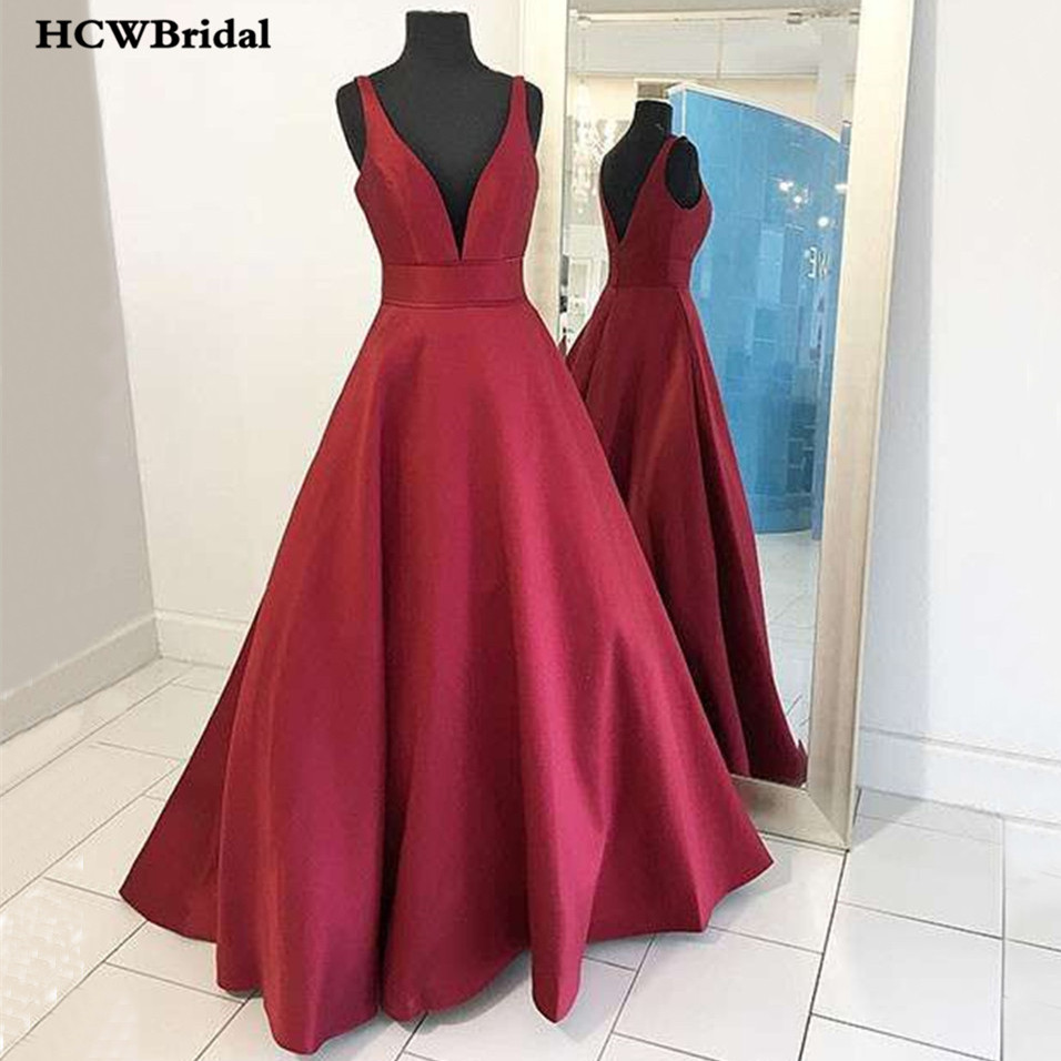 Dark Red Satin Long   Dress   V Neck A Line Floor Length Simple   Prom     Dresses   2019 Cheap Women Wedding Party Gowns Robe De Soiree
