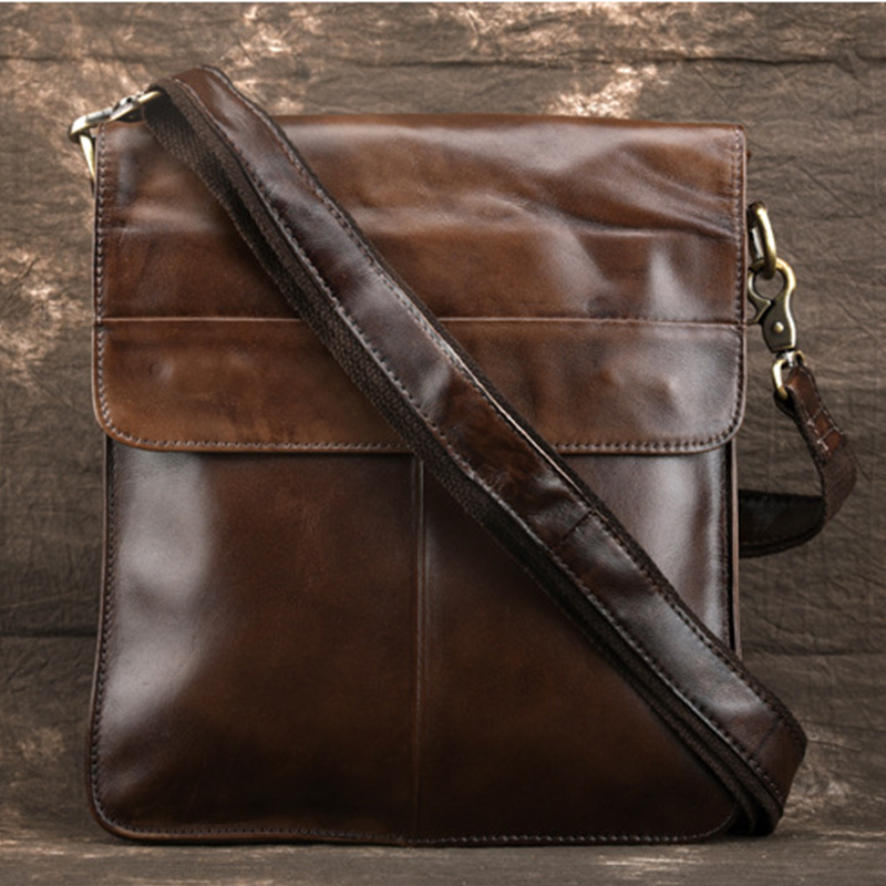 New Men Cross Body Pack Business Bag Vintage First layer Cowhide Luxury Bag Male Travel Genuine Leather Shoulder Messenger Bags