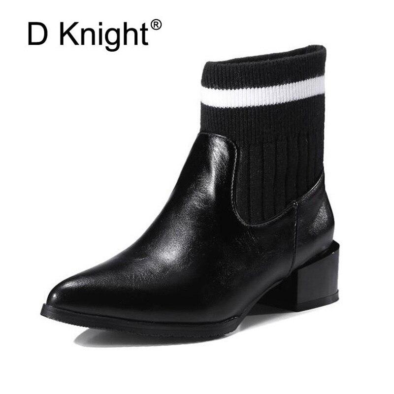 Printemps/hiver bottes Chelsea pour femmes, Style britannique mode chaussette bottines, noir/rouge Brogues PU cuir chaussures décontractées grande taille 43