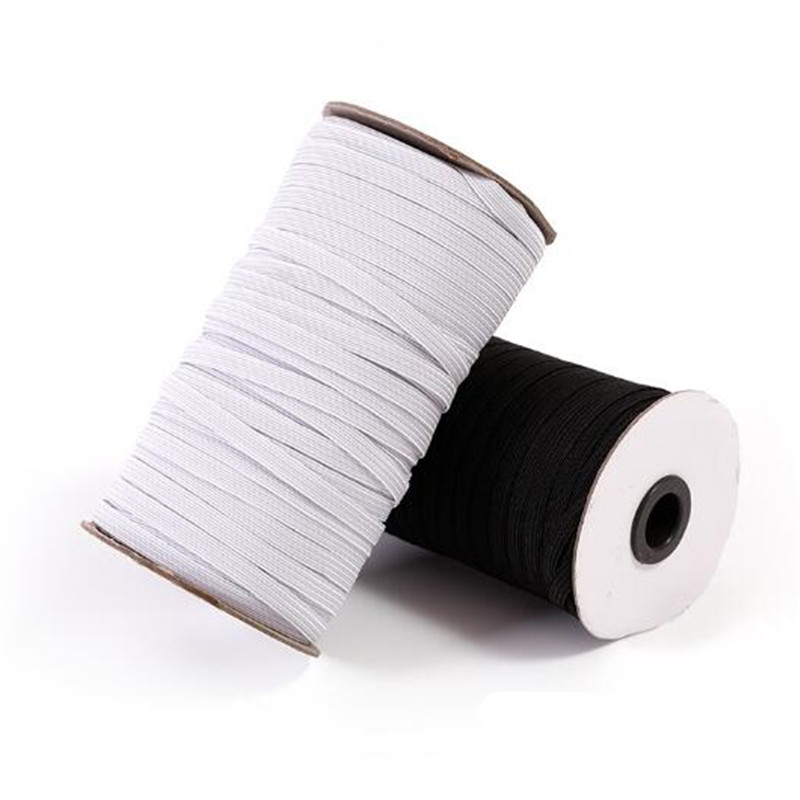 Hot Sell 10 M Sewing Elastic Band White Black High Elastic Fiat Rubber Band Waist Band Sewing Stretch Rope 5BB5628