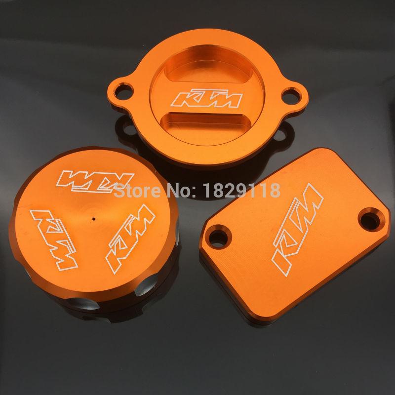 ФОТО Newest CNC Depan &Belakang Master Rem Cyclinder Waduk Topi Penutup Orange Untuk KTM DUKE 125 200 390 RC200 RC390 2012 2013 2014