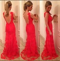 Floor Length Gown Vestidos De Baile Appliques Cut Out Back Chiffon Red Lace Prom Dress 2017 Long Mermaid vestido de festa