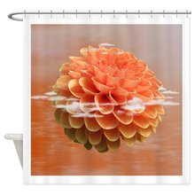 Surreal Coral Colour Dahlia Shower Curtain Decorative Fabric Set And Anti Slip Floor