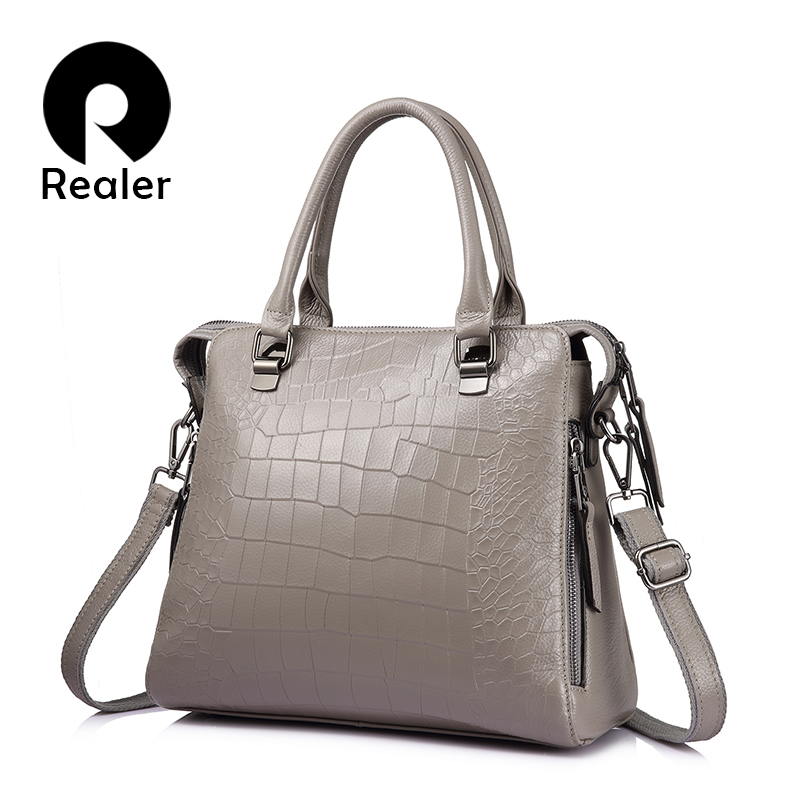 REALER бренд объёмная женская сумка из натуральной кожи высокого качества, сумка через плечо со крокридиковым принтом для бизнеса, кожаные сум... ...