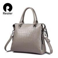 REALER Women Genuine Leather Handbags Fashion Crocodile Pattern Totes Evening Package Shoulder Messenger Bag Female Briefcase