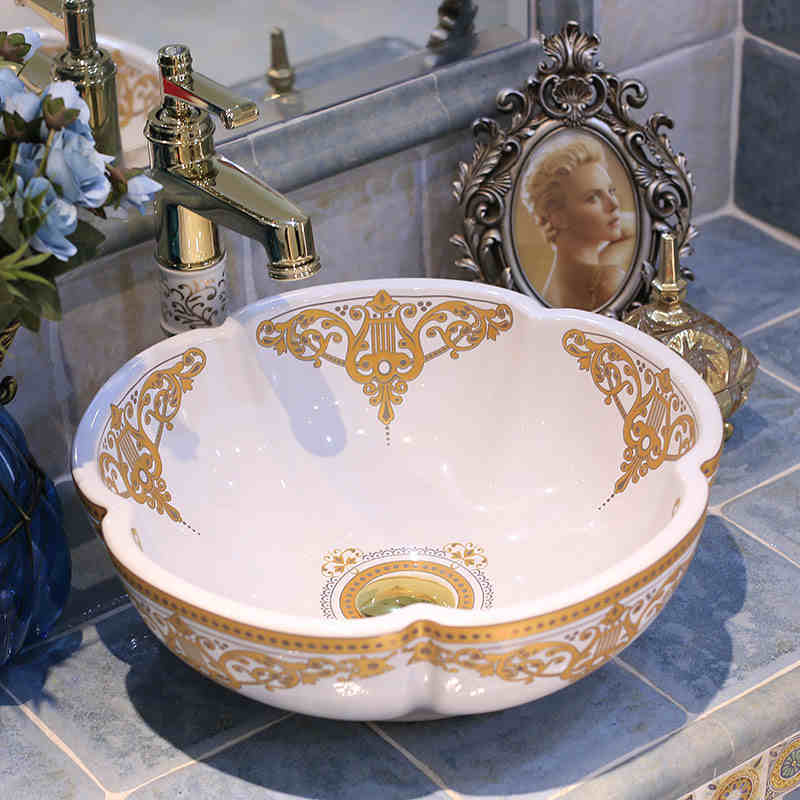 Europe Style Flower Shape Chinese Washbasin Sink Jingdezhen Art Counter Top Ceramic Bathroom Dining Room Wash Basin In Sinks From Home
