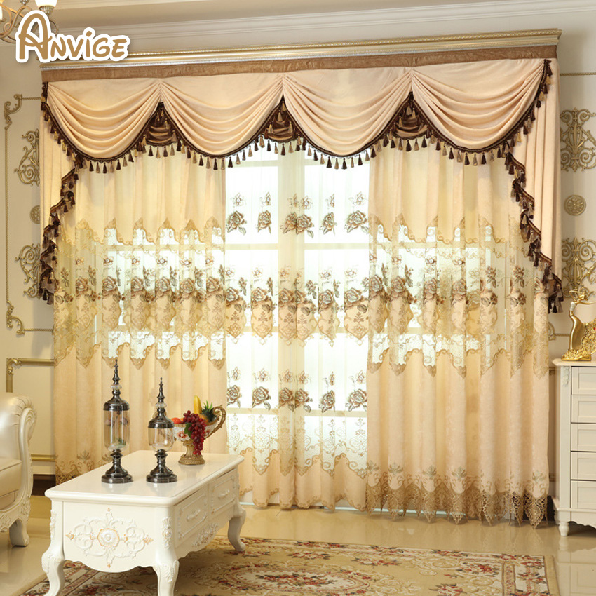 New Elegant European Style Living Room Study Embroidery Curtain Luxury  Curtains Floral Valance For Bedroom(