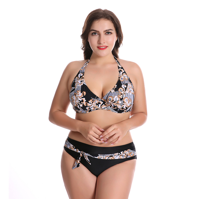 0c33e6ce86 High Waist Swimming Suit Plus Size Bikinis Set Swimwear Women Push Up Large  Size Bikini Monokini
