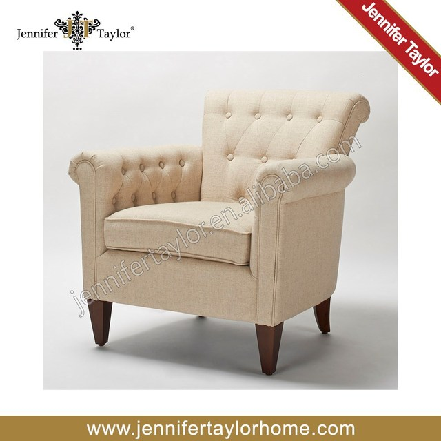 American Style Single Seater Sofa Arm Chair Tufted On Constrast Color 5308