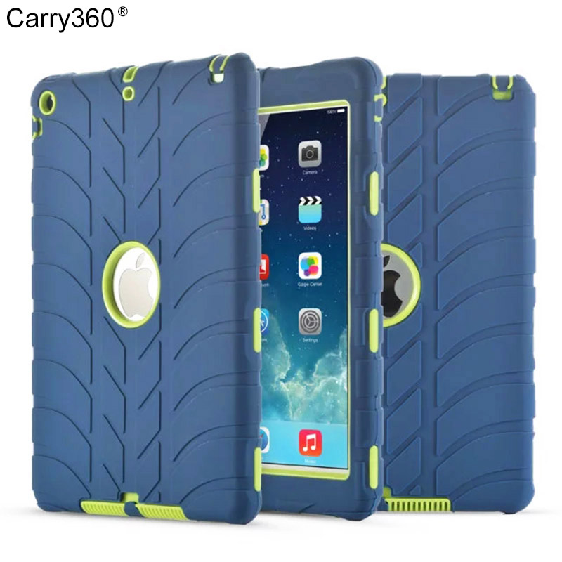 Carry360 For iPad Air 1 Kids Safe Armor Shockproof Heavy Duty Rugged Silicone Hard Case For Apple iPad 5 Table Protective hmsunrise case for apple ipad air 1 kids safe shockproof heavy duty silicone hard cover for ipad 5 case with wrist strap