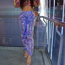Pantalones holográficos para mujer, pantalón holgado reflectante, con bolsillos laterales, estilo Hip Hop, 4XL, 2019