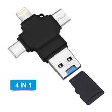 4 In 1 Multi OTG Type C Mobile Phone USB Flash Drive 3.0 For Apple Android Type C USB 3.0 16GB 32GB 64GB 128GB Memory Flash недорого