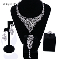 New Beautiful Luxury wedding party Leaf jewellery sets white crystal Necklace+Bracelet+earrings+ring big jewelry set for bridal