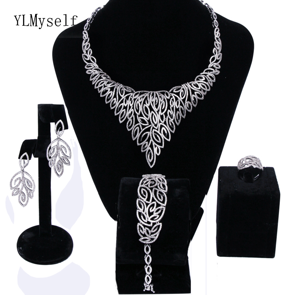 New Beautiful Luxury wedding party Leaf jewellery sets white crystal Necklace+Bracelet+earrings+ring big jewelry set for bridal a suit of graceful rhinestoned leaf necklace earrings ring and bracelet for women
