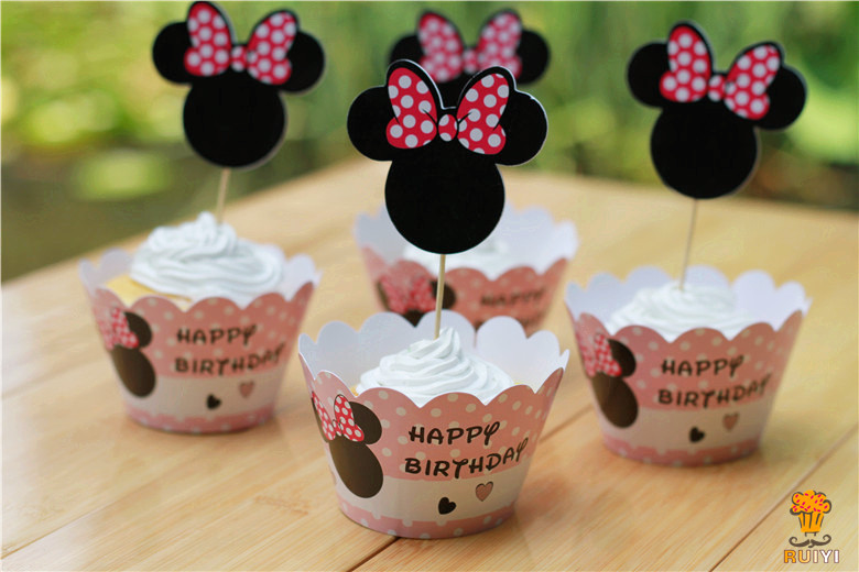 Minnie Mouse Cupcake Wrappers Cake Cups Picks Toppers Baby Shower Girl Birthday Party Kids Decorations Supplies Free Shipping
