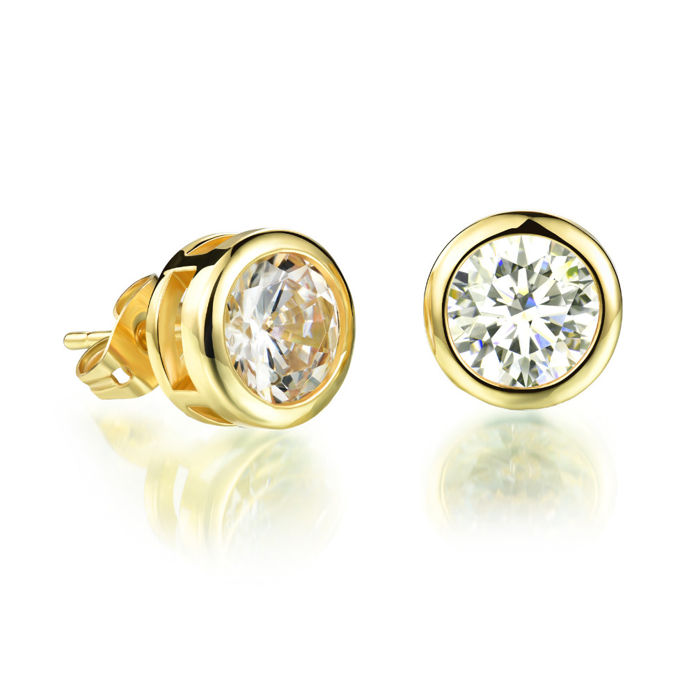 Shiny Gem Stud Earrings for Girls/ Boys,Inlaid Bright White Zircon ...