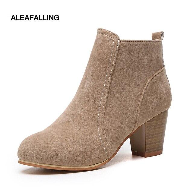 Aleafalling clásica nuevo lado cremallera en el tobillo de las mujeres botas de calle al aire libre estilo de la muchacha 6,5 cm botas de tacón alto zapatos de mujer de moda WBT03