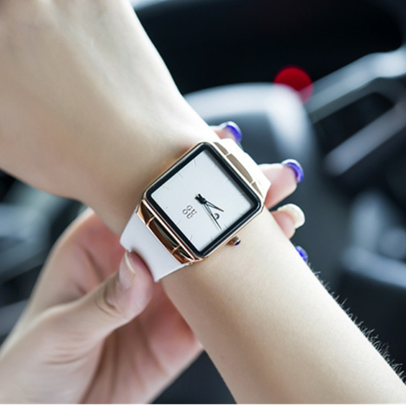 GUOU Minimalism Fashion Wrist Watch Women Watches Square Women's Watches Auto Date Ladies Watch Clock saat reloj mujer montre fashion minimalism ladies women rhinestone watch golden ceramic wrist watches items 1oey k882