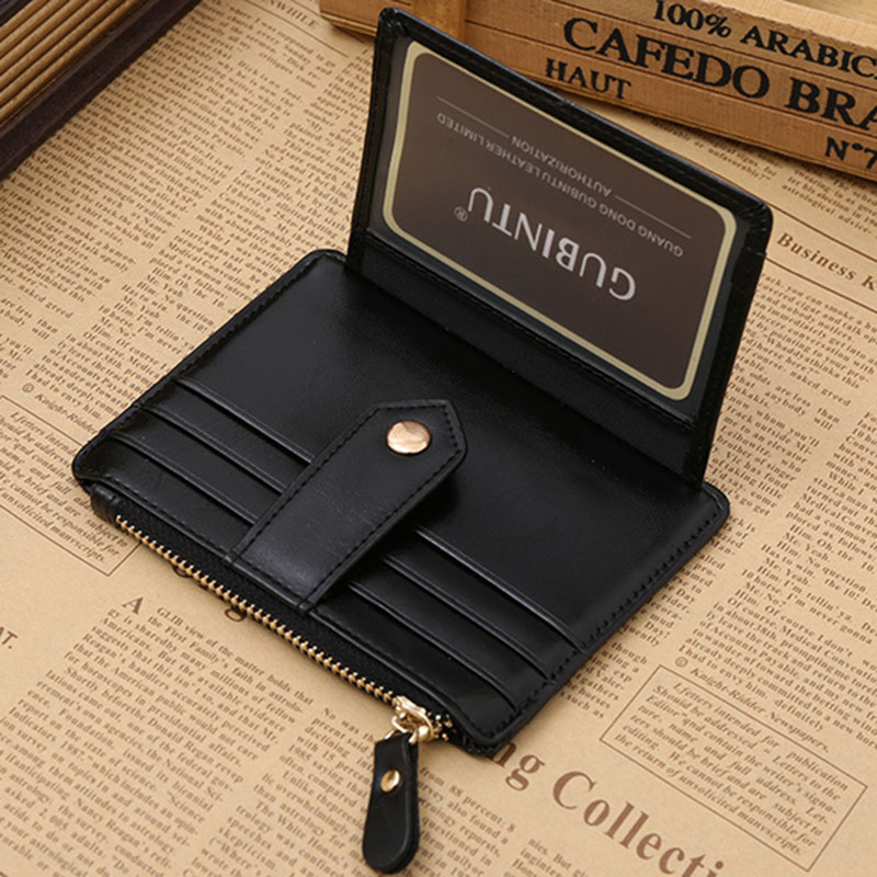 Quality Assurance pu leather card wallet with zipper pocket casual ...