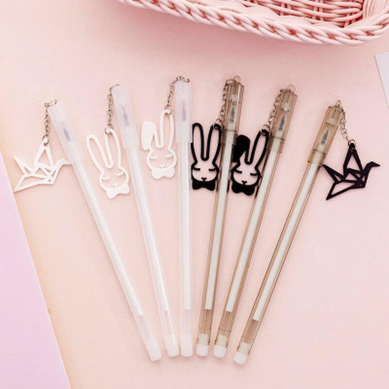 1pcs Pendant Gel Pens Cute Stationery 0.5mm Kawaii Pens Student Black Gel Pen Novelty Cartoon Cute Pen Kawaii School Supplies
