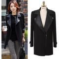 Women winter fashion slim trench coat medium-long brand design black zipper elegant ladies leather patchwork casual outerwear
