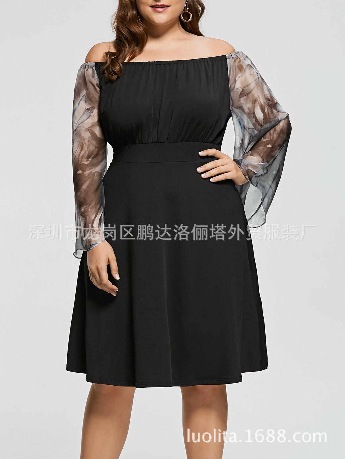Long Sleeve Autumn Winter Cocktail Dresses Elegant A-line Chiffon Black  Printed Knee Length Plus 97086a8f3b4f