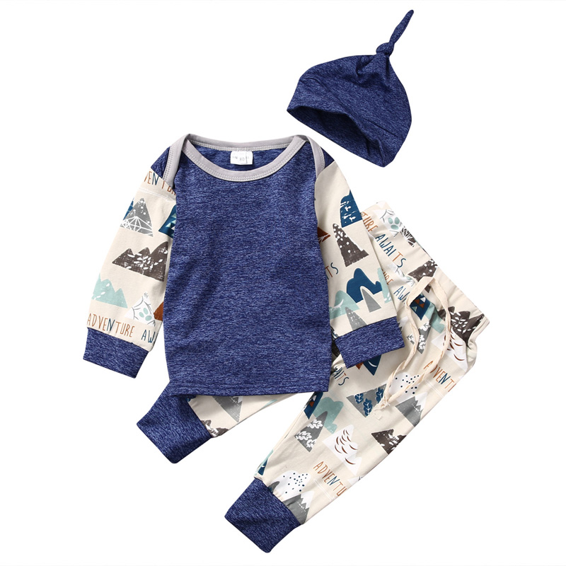 New Casual Baby Boys Girls Clothing Newborn Moutain Long Sleeve T-Shirt+Pants Hat Trousers Outfit Clothes USA