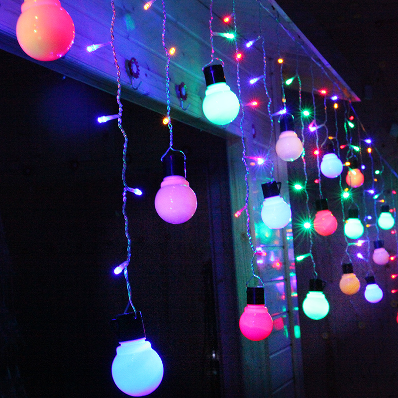 4*0.5m LED Big Ball Curtain String Lights Fairy Wedding Party decoration Garland New Year Christmas LED holiday light Luminarias 5m 20 big balls led ball string lights curtain garland lamp for fairy wedding party new year outdoor christmas holiday lighting