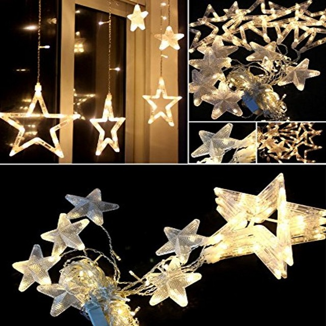12 Stars 168 Led Star Curtain Lights Waterproof Christmas star Lights  Decoration for Wedding Christmas Holiday - 12 Stars 168 Led Star Curtain Lights Waterproof Christmas Star