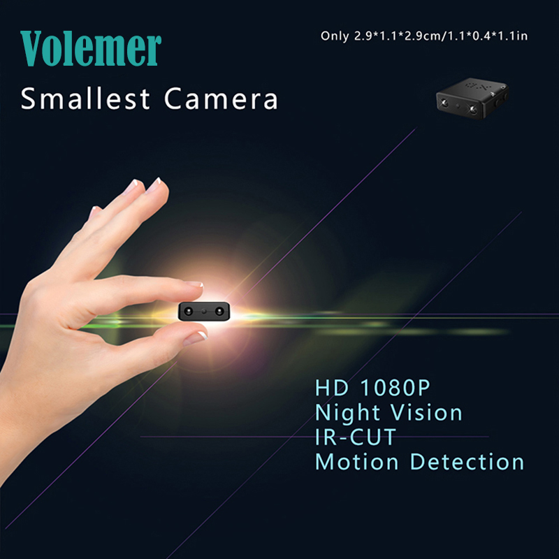 Volemer XD IR-CUT Smallest Camera 1080P Full HD Camcorder Infrared Night Vision Micro Cam Motion Detection DV Camera Nanny cam
