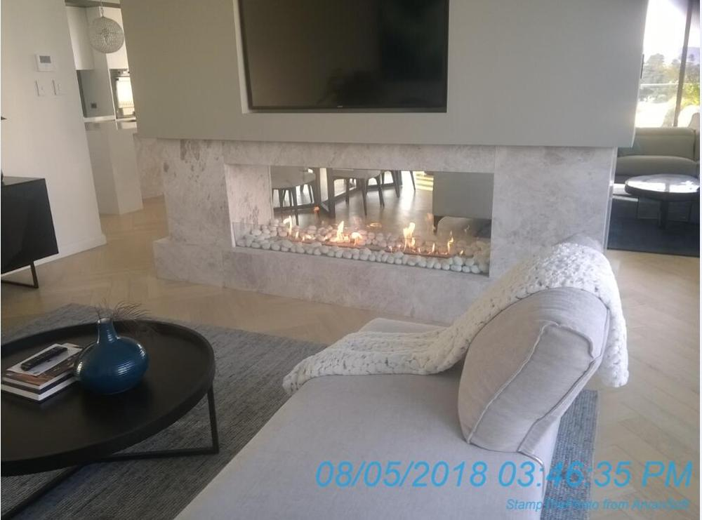 48 Inch Silver Or Black  Remote Control Built In Electric Intelligent Automatic Ethanol Fireplace