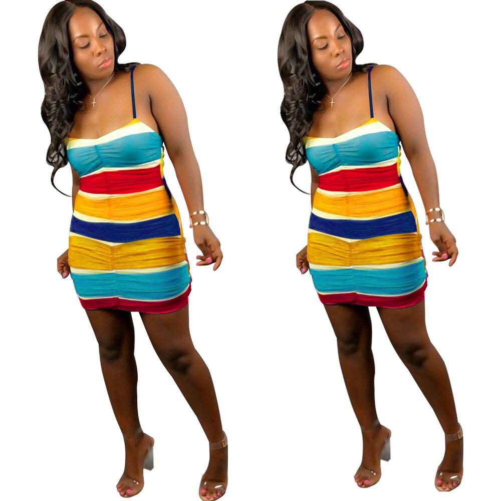 Casual Pleated Colorful Striped Mini Dress Women Sexy Slim Strapless Spaghetti Strap Summer Dress Evening Club Dress Vestidos