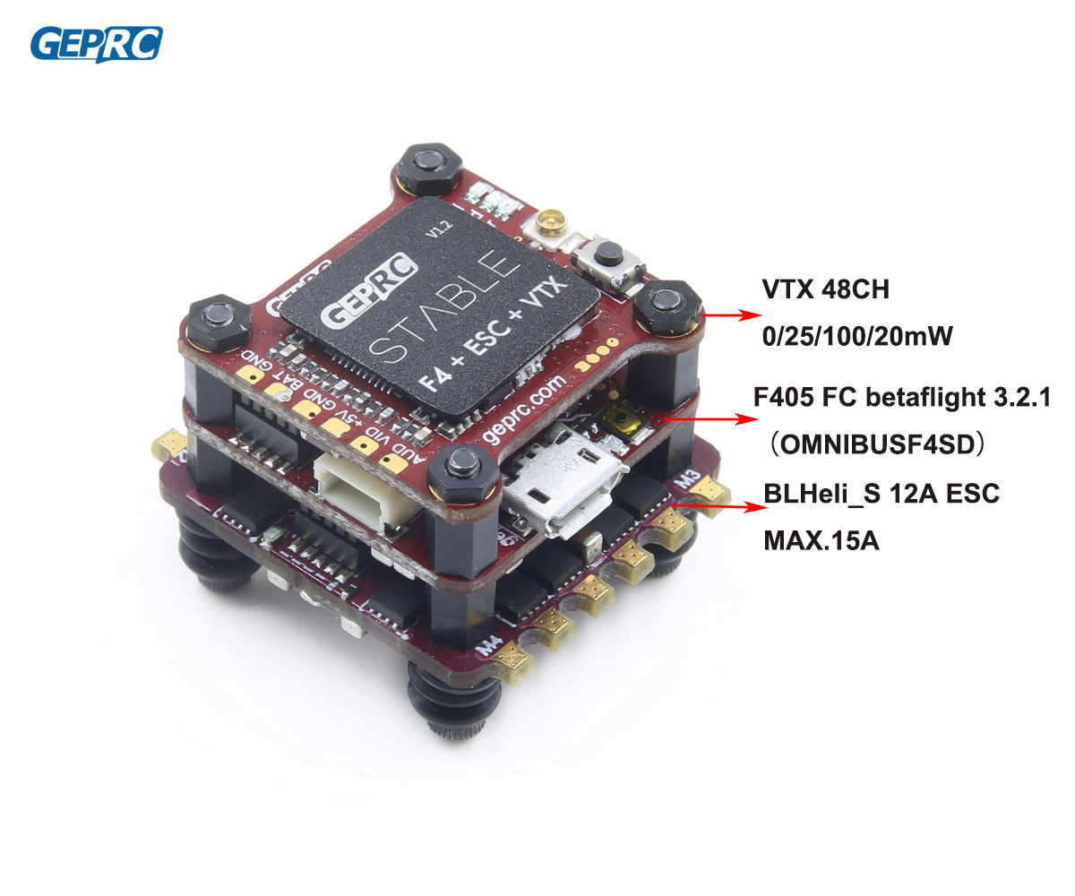 GEPRC Stable F4 Mini Fly Tour F4 Vol Contrôle Betaflight + 12A/20A BLHELI-S 4in1 ESC + 48CH 200 mw VTX pour micro Drone FPV