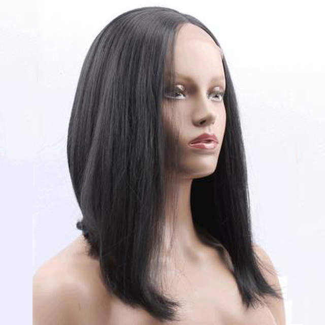 Medium Length Layered Bob Hairstyle Synthetic Lace Front Wig Heat