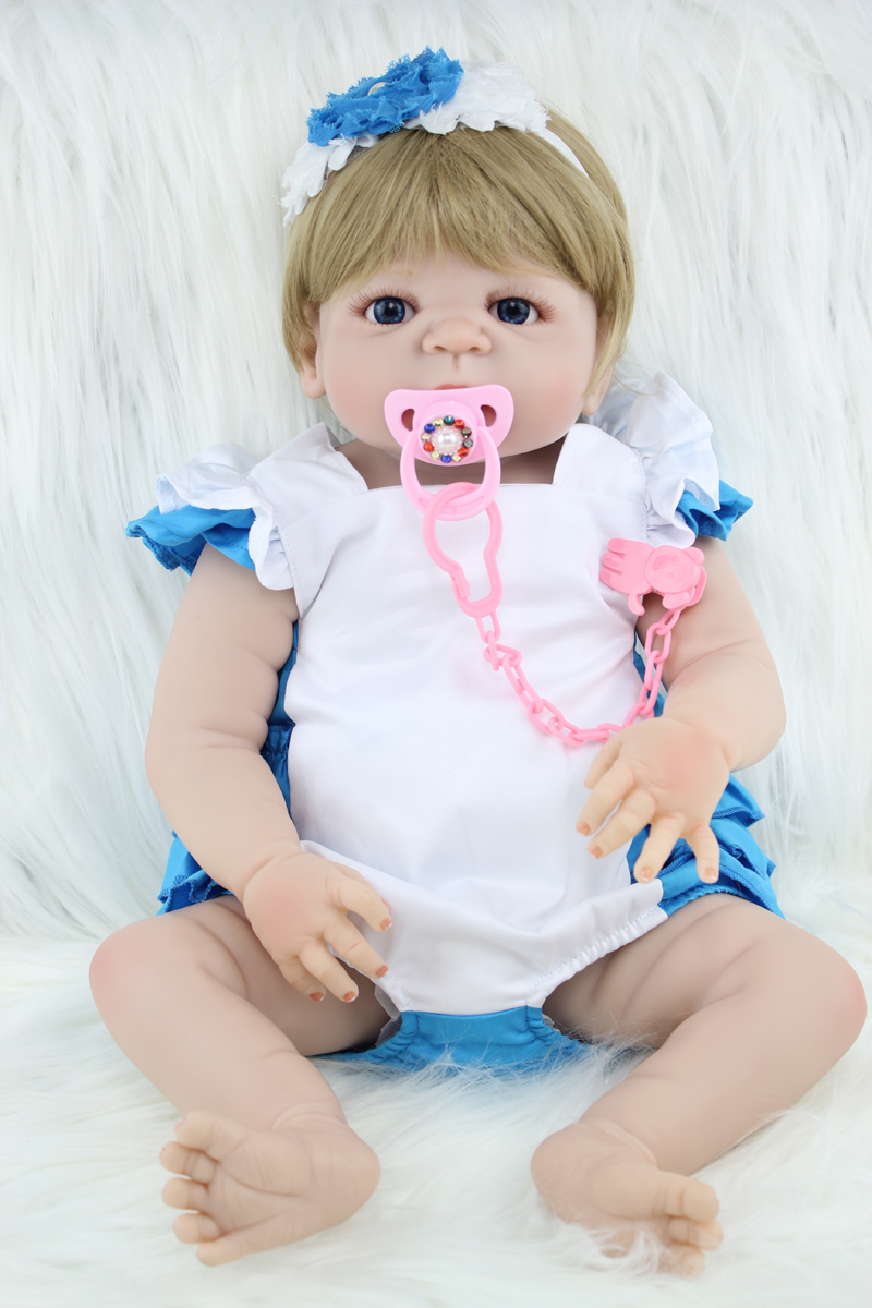 New Full Silicone Body Reborn Girl Baby Doll Toy 55cm Cute Baby Newborn Babies  Lifelike birthday Present Gift Play House Bathe 55cm new hair color full body silicone reborn baby doll toys realistic newborn girl babies dolls gift birthday gift bathe toy