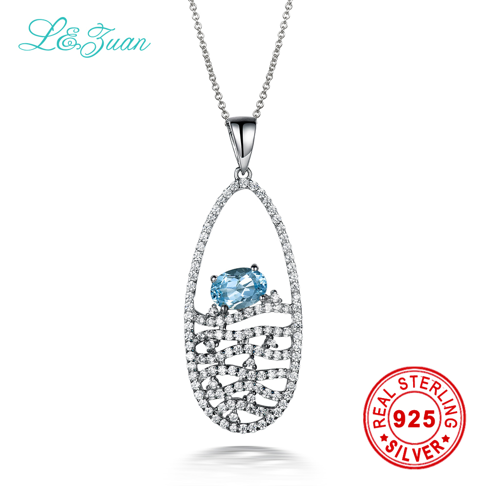 I&zuan Brand 925 sterling silver 1.11ct Topaz Blue Leaves Trendy Pendant Jewelry For Women Gift Send a S925 Silver Necklace-1 цена