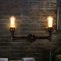Фумат чердак бра Ретро гладить стенки трубы бра светильники Luminaria 2 головки Ванная комната зеркало спереди прикроватные тумбочки, настенные