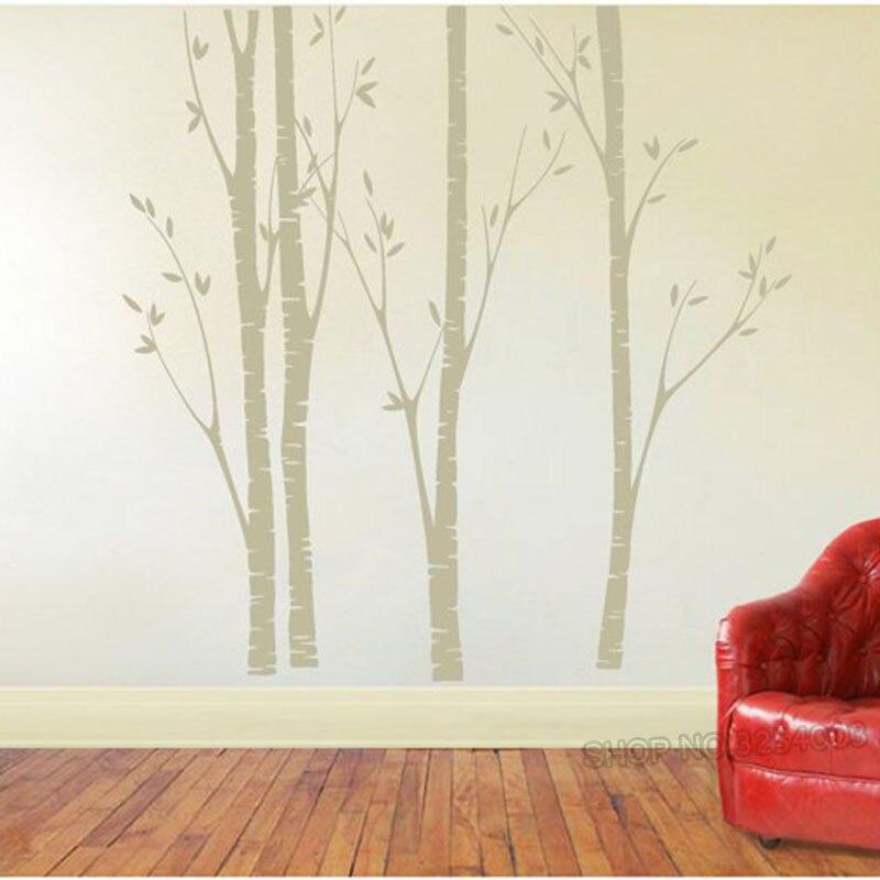 Énorme bouleau arbre mur autocollant vinyle pépinière décor mur Art autocollants faciles à poser pour enfants bébé chambres stickers muraux arbre Branches décor L918 - 2