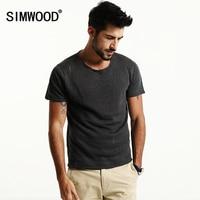 SIMWOOD 2017 Spring Summer New Shorts Sleeve T Shirts Men Hollow Linen Tees Fashion Brand Clothing