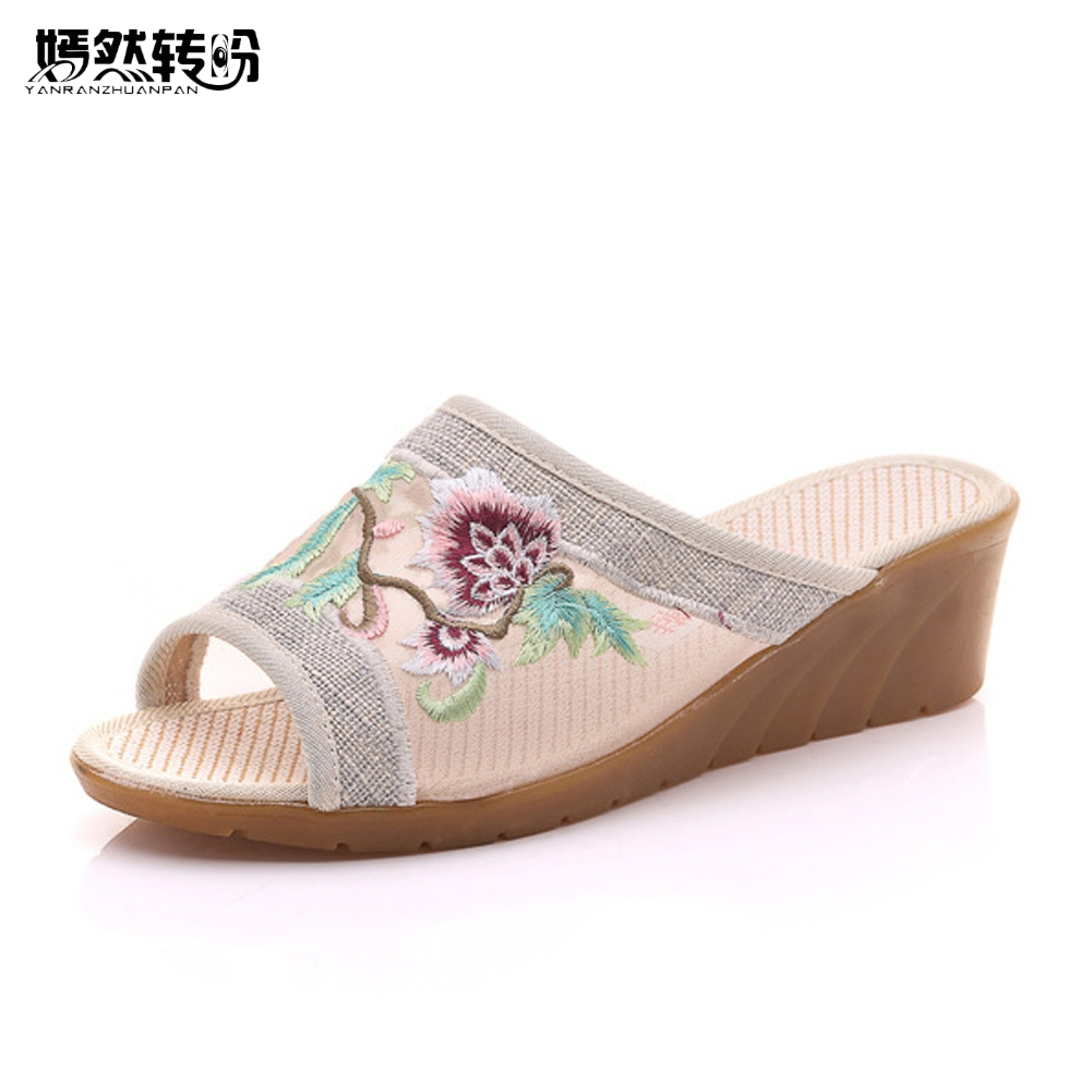Women Slippers Summer Flower Chinese Embroidered Gauze ...