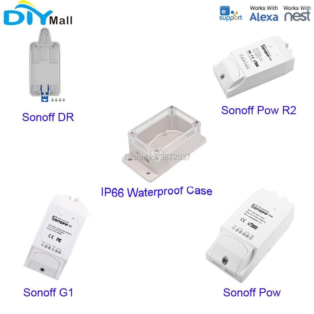 Sonoff G1 GPRS GSM дистанционного Pow R2 Мощность измерения потребления переключатель Wi-Fi IP66 Водонепроницаемый чехол DR din-рейку лоток крепление держа...